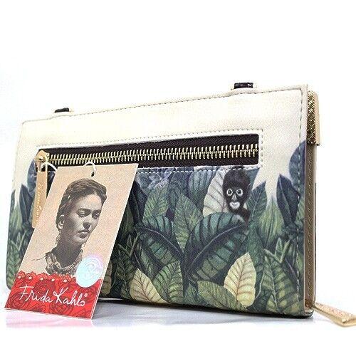 FJ928 Authentic Frida Kahlo Jungle Série Zipper Portefeuille Bandoulière Sangle