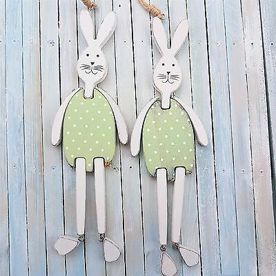 SET OF 2 EASTER WOODEN HANGING ARTICULATED BUNNY BUNNIES RABBIT DECORATION
