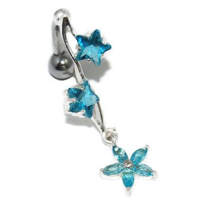 Laborioso Piercing De Nombril Inversé Argent Massif 925 Pendant étoile Cristal Bleu Bijou