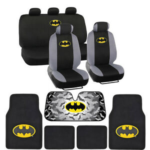 Batman-Seat-Covers-Floor-Mats-Auto-Shade-for-Car-amp-SUV-Full-Set