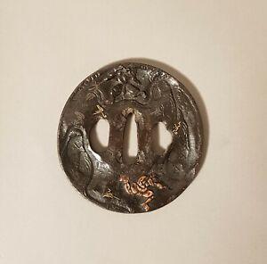 Grande-Tsuba-en-fer-martele-Meiji-Japon-XIX-eme-siecle-Art-d-039-Asie-Asian-art