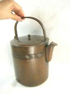 ANTIQUE-JAPANESE-TAISHO-ERA-c-1920-COPPER-TEA-POT-KETTLE-YAKAN