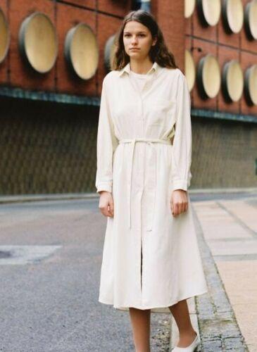 Baserange Shirt Dress Off White Raw Silk XS MNZ Bl