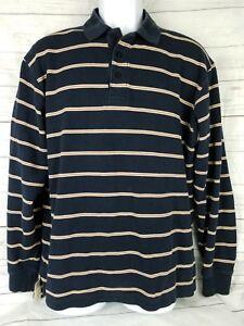 Charles-Tyrwhitt-Mens-L-Large-Blue-Striped-100-Cotton-Long-Sleeve-Polo-Shirt