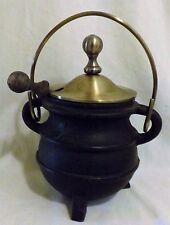 Vtg Cast Iron Smudge Pot Cauldron Kettle w Brass Lid Fire Starter Wand Antique