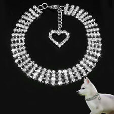 Fancy Rhinestone Dog Jewelry Necklace Collars with Heart Charm for Small Dogs