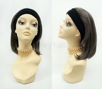 Short Straight Brown And Gray Headband Wig Heat Resistant Safe 14