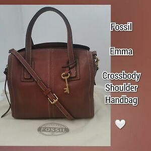FOSSIL Emma Multiway Crossbody Shoulder Grab Bag Med Tan Leather Dust Bag VGC