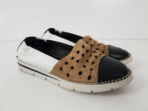 HISPANITAS Leather Glove Slip On Shoe Women's Size EUR36 Three Tone Punch Cut