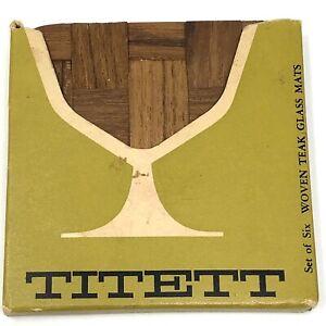 Vtg-MCM-WOVEN-TEAK-COASTERS-Set-of-6-TITETT-Made-By-Alberts-Of-SWEDEN-b