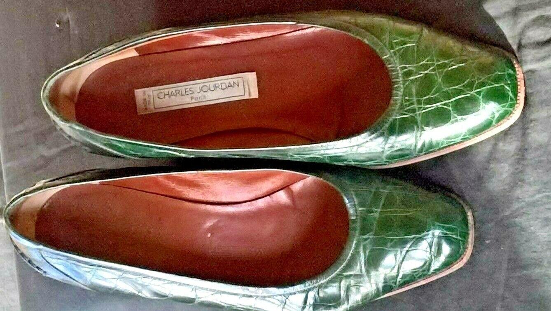 Charles Jourdan grüne Pumps in  Reptiloptik  Leder Paris EU 36