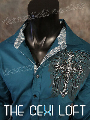 NEW VICTORIOUS Teal Blue Wing Print Cross Embroidery Button Shirt ROAR w/ Class!