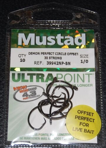 10 Mustad 39942BLN Ultra Point Size 1/0 3X Strong Demon Circle Hooks 39942BLN-10