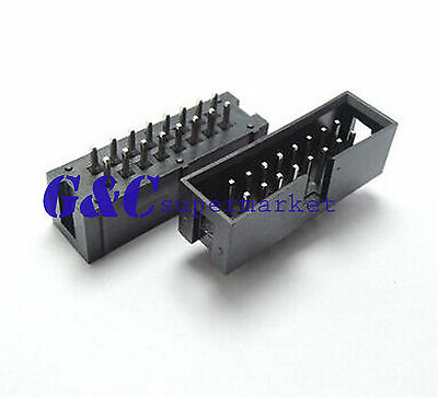 100PCS 2.54mm 2x8 Pin 16PIN Straight Box Header Shrouded header IDC Male Socket