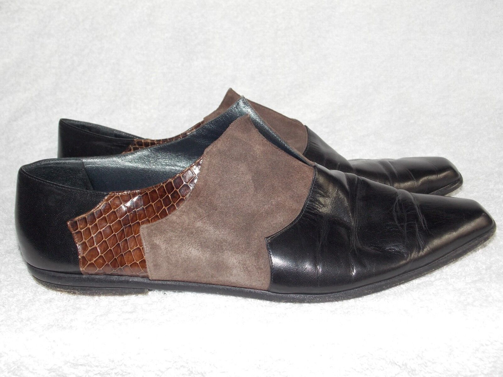 Albanese Roma Leather Snake Print Suede Slip On MULES 40 Used
