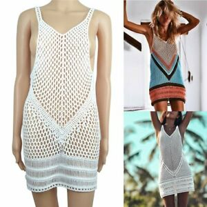 Women-Sexy-V-neck-Hollow-Out-Cover-Up-Sleeveless-Lace-Crochet-Knit-Beach-Dress