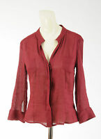 Women's Piazza Sempione Linen Blend Shirt V-neck Size 40 Sz Small 3/4 Sleeve Red