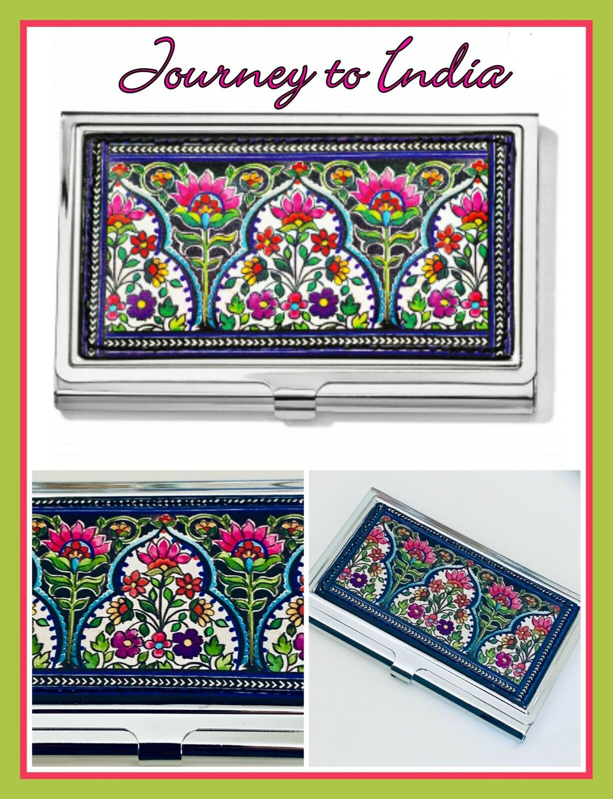 Brighton My Journey to India Floral Business Metal Card Case Holder E5324M NWT