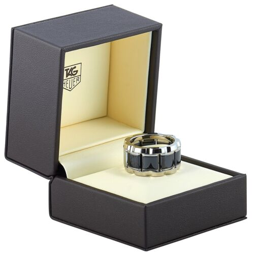 Tag Heuer Stainless Steel and Ceramic ~0.007 ct Diamond Ring
