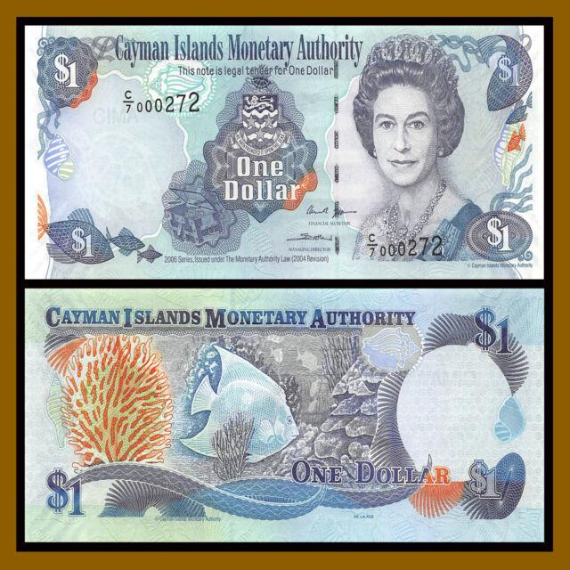 Cayman Islands 1 Dollar, 2006 P-33d (3 Digit Serial # 000272) QE II Unc