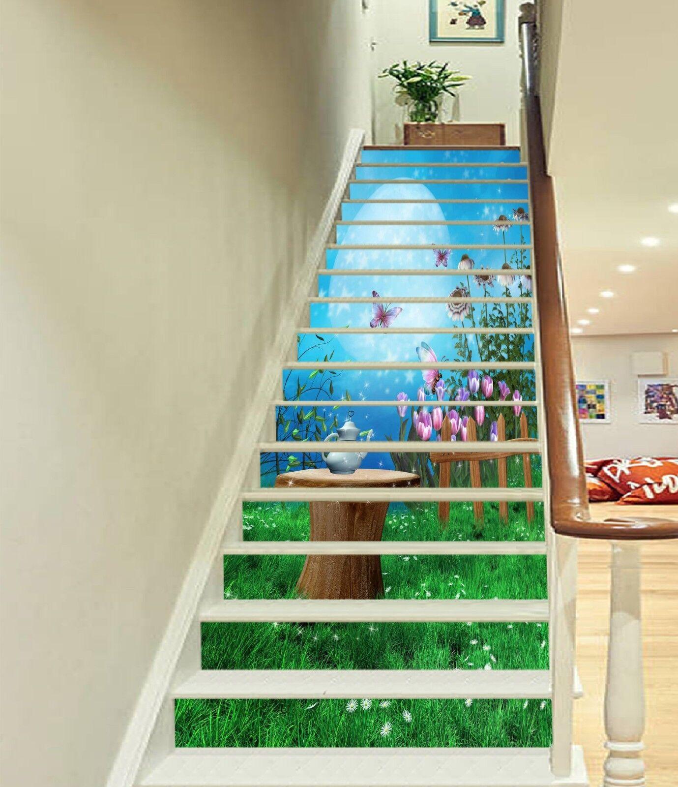3D Meadow Petal 6 Stair Risers Decoration Photo Mural Vinyl Decal Wallpaper US