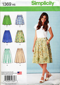 SIMPLICITY-SEWING-PATTERN-1369-MISSES-SZ-14-22-FLARED-SKIRT-IN-THREE-LENGTHS