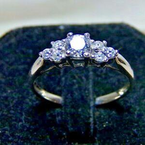 77d84c9b2 10K White Gold Swarovski Zirconia 7 Stone Engagement Ring Sz 6.75 RL ...