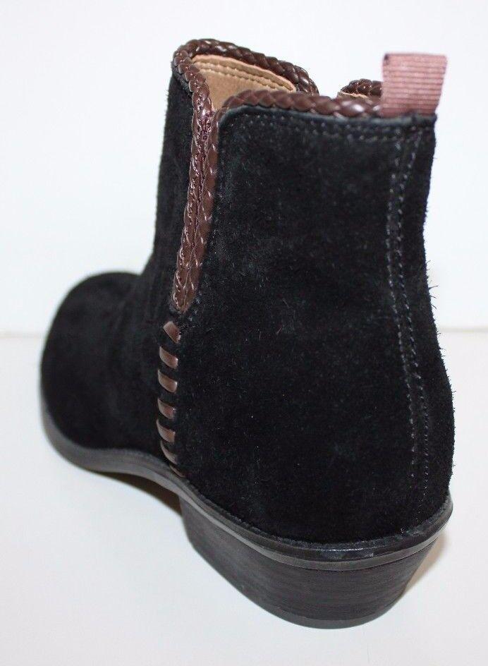 Franco Sarto NWOB Women's Women's Women's Ricochet Black Suede Ankle Boots w  Brown Trim 873283