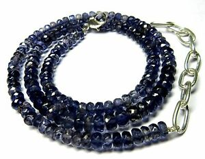 """93.00 CT Iolite Gemstone Rondelle Faceted Beads 19.5"""" NECKLACE 5-5.5MM S43"""