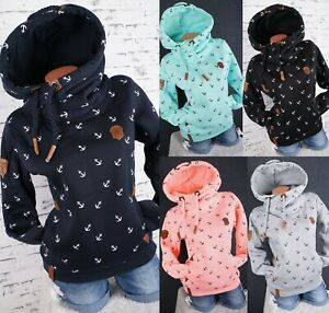 Damen-Kapuzenpullover-Hoodie-Sweatshirt-warmer-Fleece-Pulli-M-L-XL-2XL-3XL