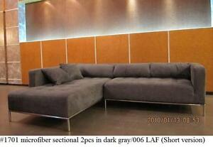 Details about 2PC Dark Gray Microfiber Modern tufted Sectional Sofa #1701  (Small Version)