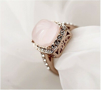 18K Rose Gold GP Austrian Crystal Pink OpaL Amazing Ring Size 6,7,8,9 BR869
