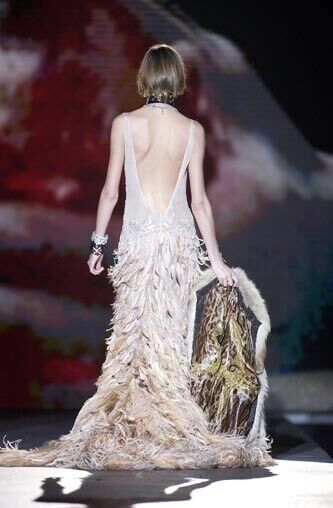 Roberto Cavalli FW2003 Blush Crystal Feather Gown - image 5