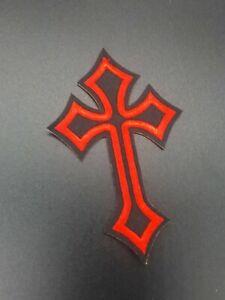 Parche-Cruz-Roja-Gotica-Rock-Cross-rod-Sew-Or-Iron-patch-rock-motor-custom