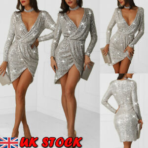 Women-Glitter-Sequin-Evening-Club-Dress-Long-Sleeve-Mini-Bodycon-Party-Dress-UK