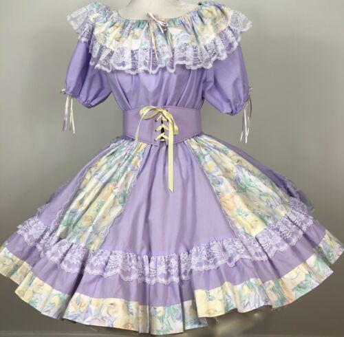 Square Dance OUTFIT Skirt Blouse Corset Belt Purpl