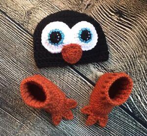Newborn-Baby-Boy-Girl-Crochet-Penguin-Hat-Boot-Booties-Costume-Photo-Prop-Out