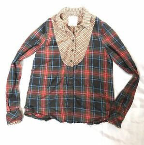 We-the-Free-People-Womens-Top-Patchwork-Plaid-Raw-Edge-Button-Front-Size-M