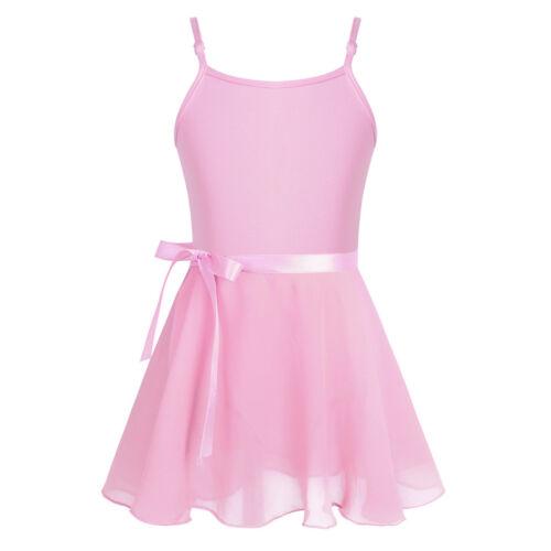 Kids Girls Ballet Dance Dress Gymnastics Leotard with Chiffon Tied Skirt Outfits