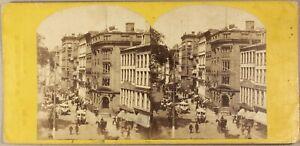 USA-Broadway-New-York-Rue-animee-Photo-Stereo-Vintage-Albumine-ca-1870
