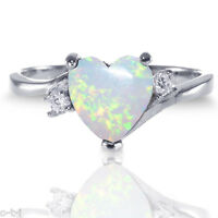 Large Heart White Fire Opal W/ Cz Love Fashion Genuine Sterling Silver Ring