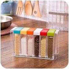 6 Box Spice Rack Organizer Masal Box Kitchen Container Jar Plastic Crystal Clear