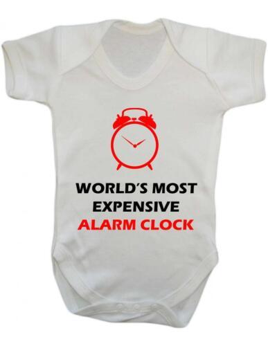 "BNWT Baby Bodysuit Funny /""World/'s most expensive alarm clock /"" Baby Grow Fun"