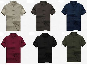 Men-Shirt-Chinese-Ethnic-Traditional-Kung-Fu-Linen-Cotton-Short-Sleeve-Top-Zsell