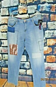 INC-Womens-Blue-Regular-Fit-Sequined-Patched-Boyfriend-Jeans-NWT