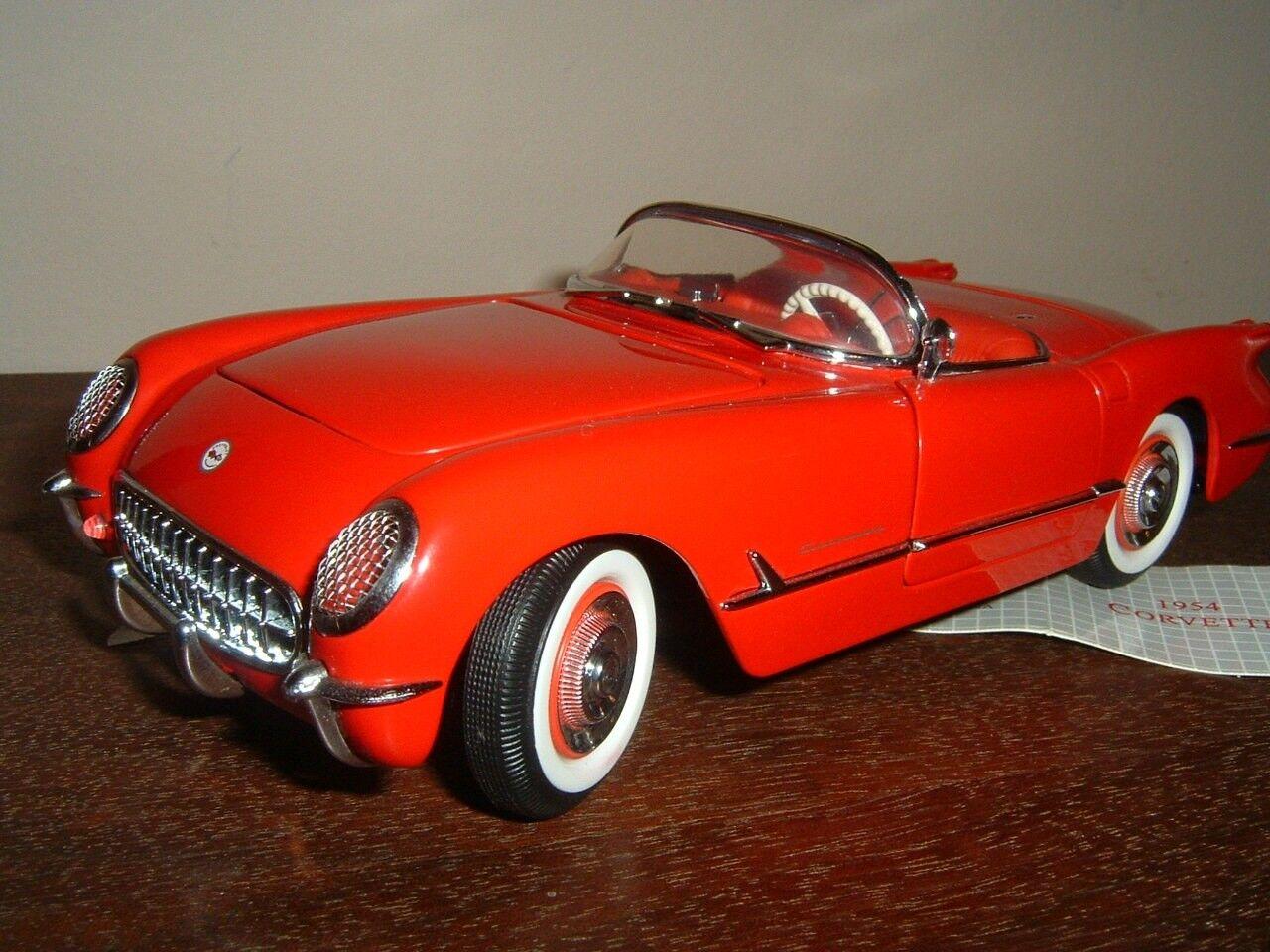 Franklin Comme neuf 1954 CHEVROLET CORVETTE convt avec Nouveau Display Case 1 24 Rouge