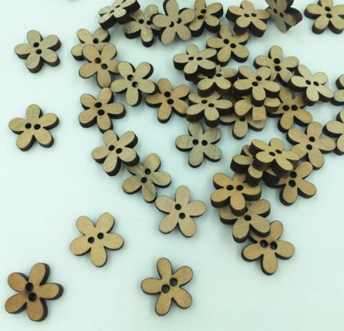 FREE 200PCs Vintage Wood Buttons Sewing Scrapbooking Flowers Shaped 2 Holes 15mm
