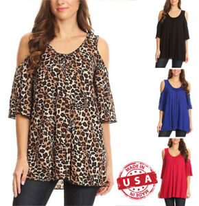 USA-Scoop-Neck-Cold-Shoulder-3-4-Slv-With-Shirred-Front-Detail-Blouse-Top-S-XL