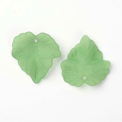 Green jewelry making bead 50pcs Transparent Frosted Acrylic Pendants Maple Leaf