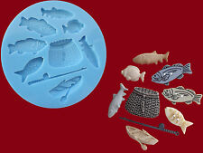 Fishing Rod Boat Fish Basket sugarcraft cake decorating food g silicone mould